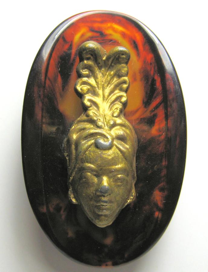 Imitation Tortoise Shell Bakelite Button with Metal with Josephine Baker