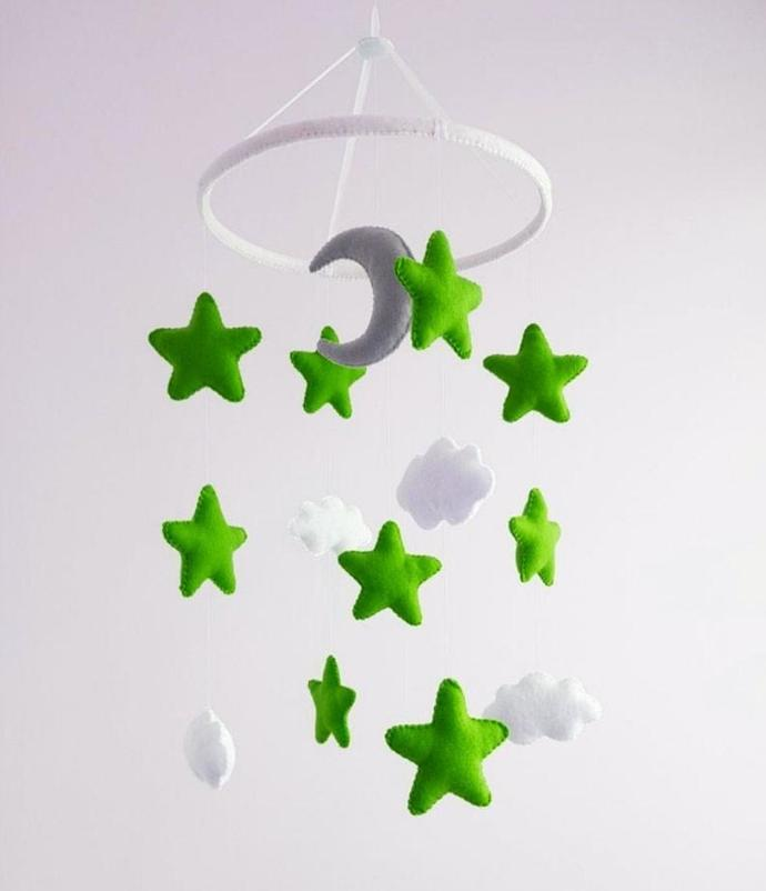 Baby crib mobile Star green gray moon Nursery cot decor Cloud Hanging mobile