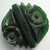 Large Chunky Green Carved Bakelite Button