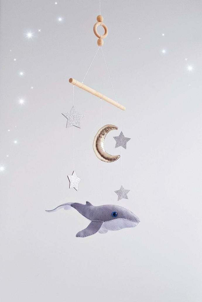 whale baby crib mobile mobile Under the Sea nursery Gold moon Silver Stars