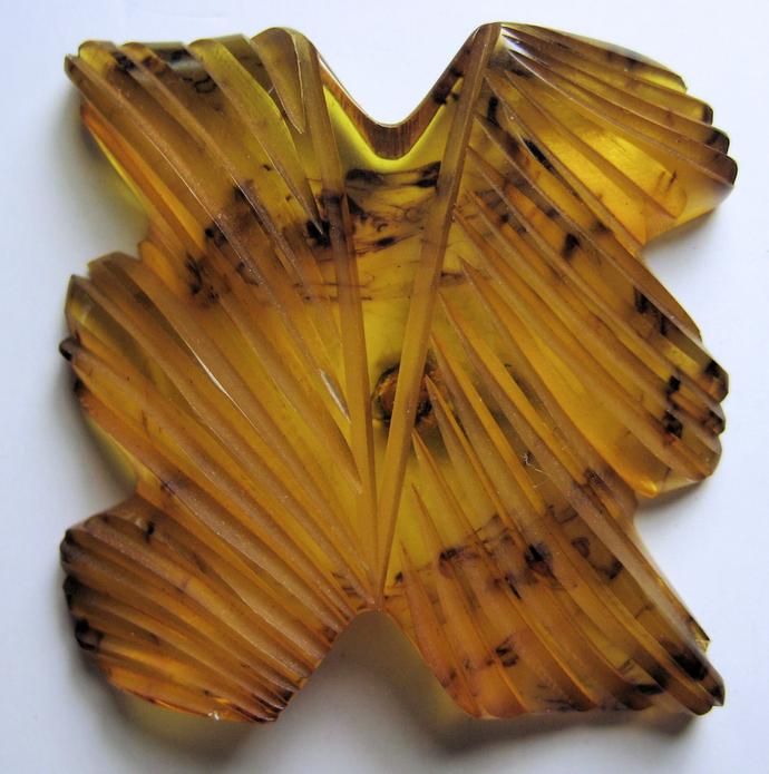 Imit. Tortoise Shell Odd Shaped Bakelite Button