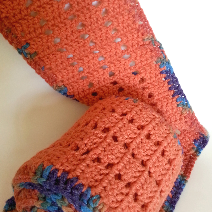 Long Orange Crocheted Scarf with Colorful Edge