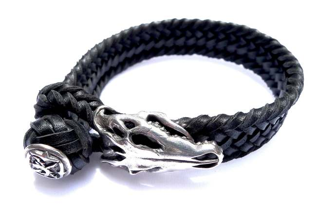 """Pure silver and leather bracelet  """"Skull"""", Unique Jewelry from Bali, Worldwide"""