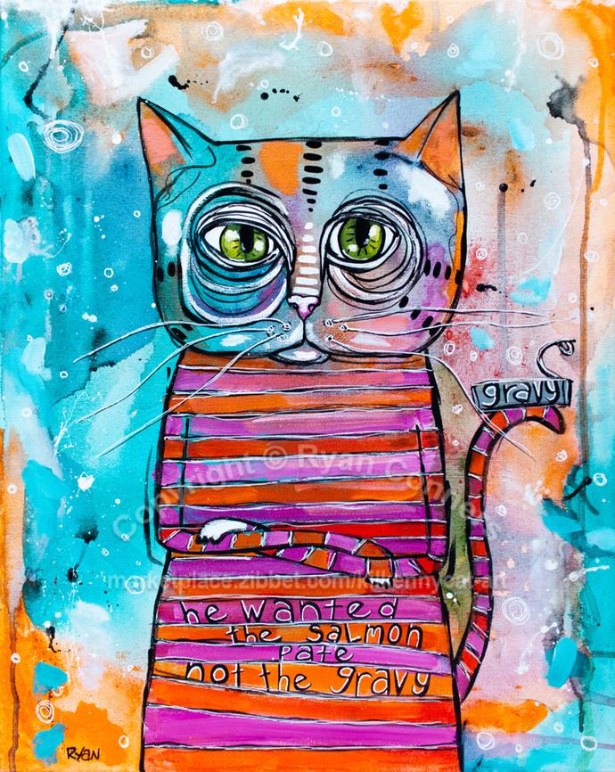 "16"" x 20"" The Sass Cat Original Whimsical Cat Folk Art Painting"