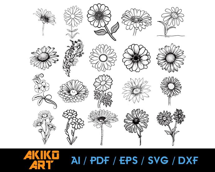 Daisy Vector Flower Dxf Eps Png Cricut By Akiko Art On Zibbet