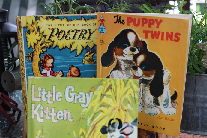 3 Vintage Books- The Puppy Twins 1959- Little Golden Book of Poetry 1940- Little