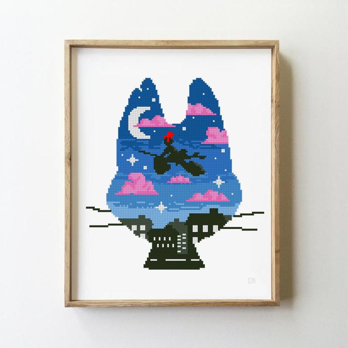 Anime counted cross stitch pattern chibi galaxy manga japane sakura mountains -
