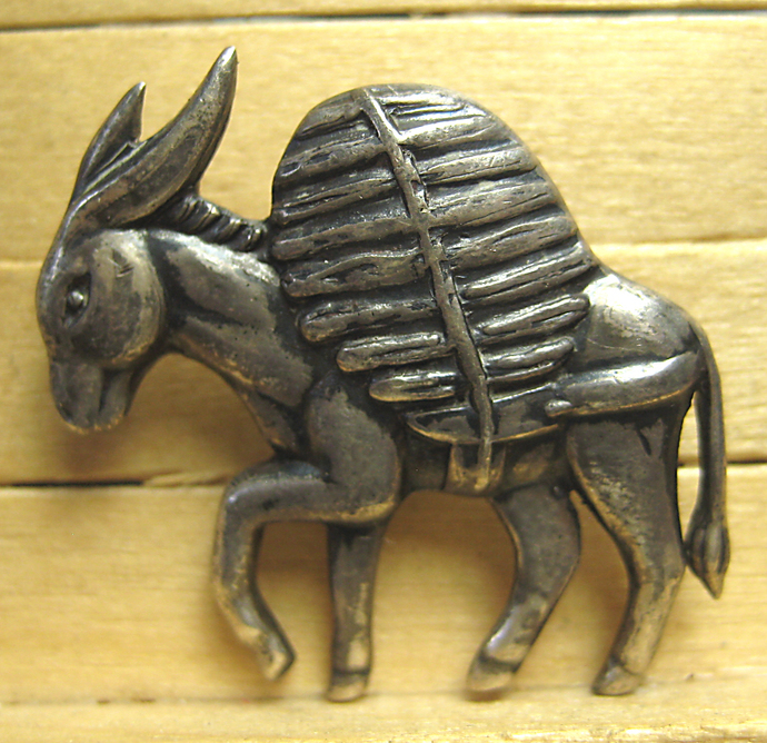 Fabulous Los Castillo Sterling Silver Mexican Donkey Burro Button #3