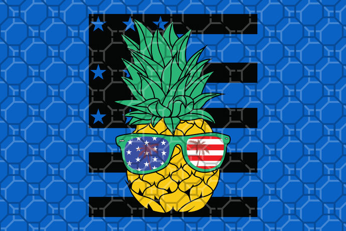 Pineapple with sunglasses american flag,America 4th Of July Patriotic