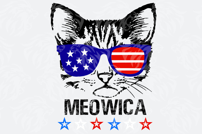 Meowica with sunglasses american flag,American Svg, 4th Of July Svg, Fourth Of