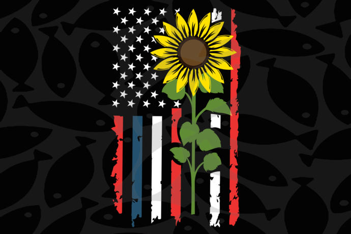 Sunflower american flag, American Svg, 4th Of July Svg, Patriotic American Svg,