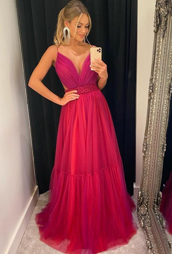 Charming Prom Dress,A-Line Prom Gown,Tulle Evening Dress,Backless Prom Gown 0219