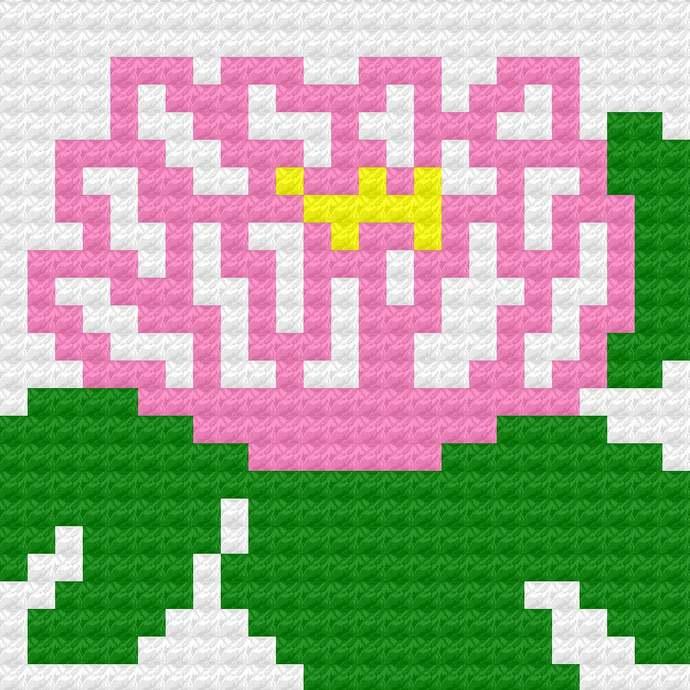 Water Lily Waterlily C2C Crochet Pattern PDF Throw Pillow Motif Graph & Written
