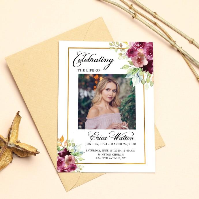 Floral Funeral Program Template, Obituary Program, Memorial Program Template,