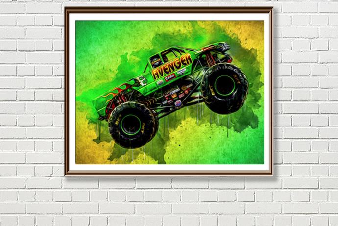 Avenger Monster Truck Print Poster By Sergiocolorsstudio On Zibbet