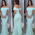 turquoise blue simple evening dresses boat neck mermaid elegant cheap long