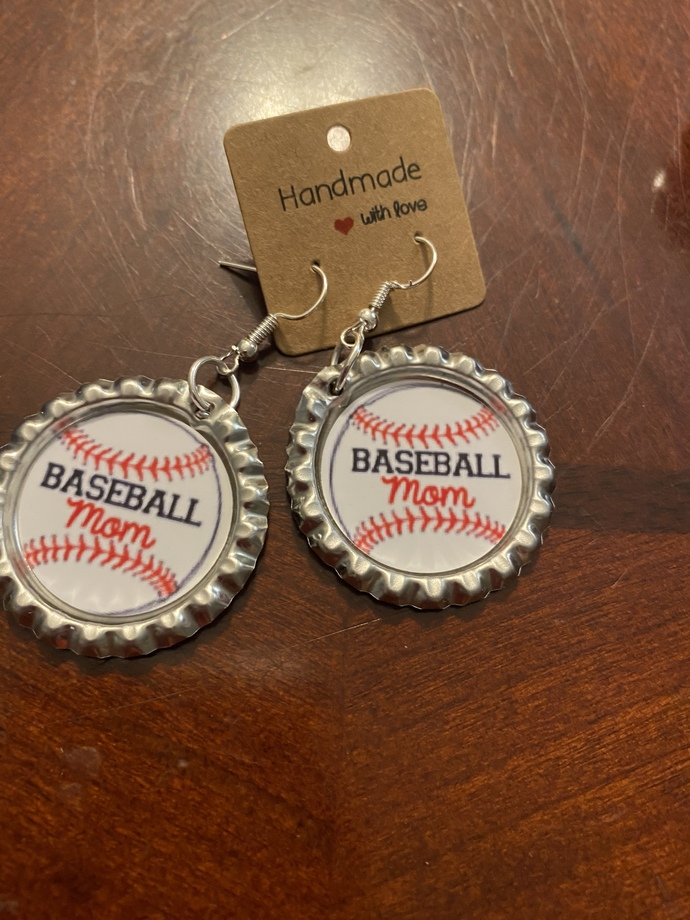 Baseball mom earrings, phone grip, earrings, or badge reel, handmade baseball