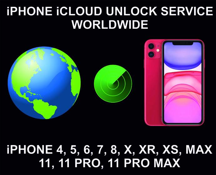 iCloud Unlock Service, Clean Status, Worldwide, iPhone 4, 5, 6, 7, 8, X, XR, XS,