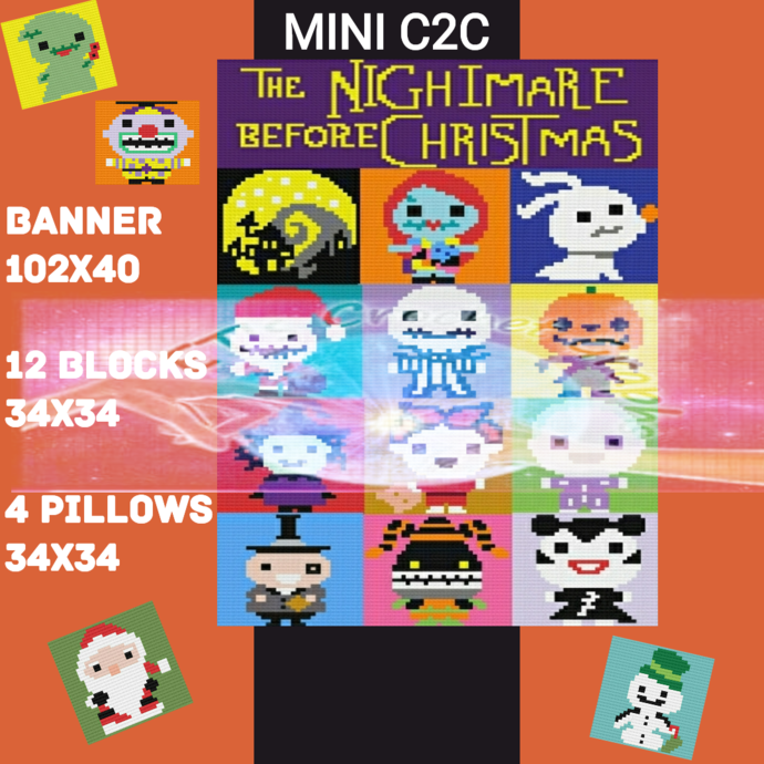 Nightmare Before Chrstmas Mini C2C Bundle includes Color Chart Instructions