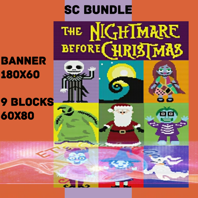 NIghtmare Before Christmas SC 10 Pattern includes Color Chart Instructions
