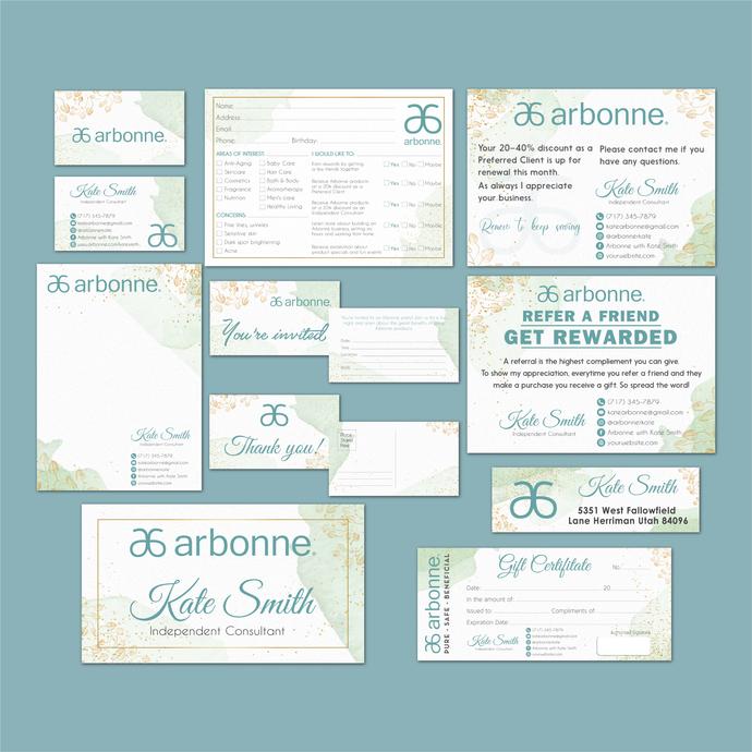 Watercolor Personalized Arbonne Package, Arbonne Marketing Kit, Arbonne