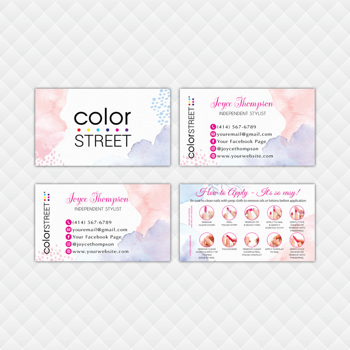 Watercolor Personalized Color Street Application Cards, Color Street Business