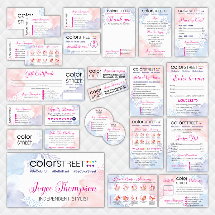 Personalized Color Street Marketing Set, Marble Color Street Marketing Kit,