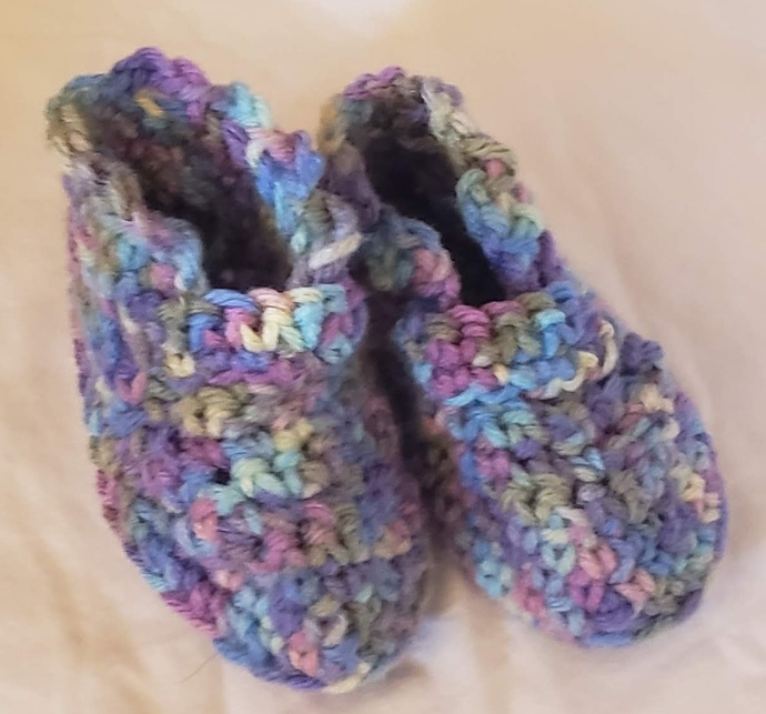 Baby Booties - Blue Lavender Yellow Hand Crocheted