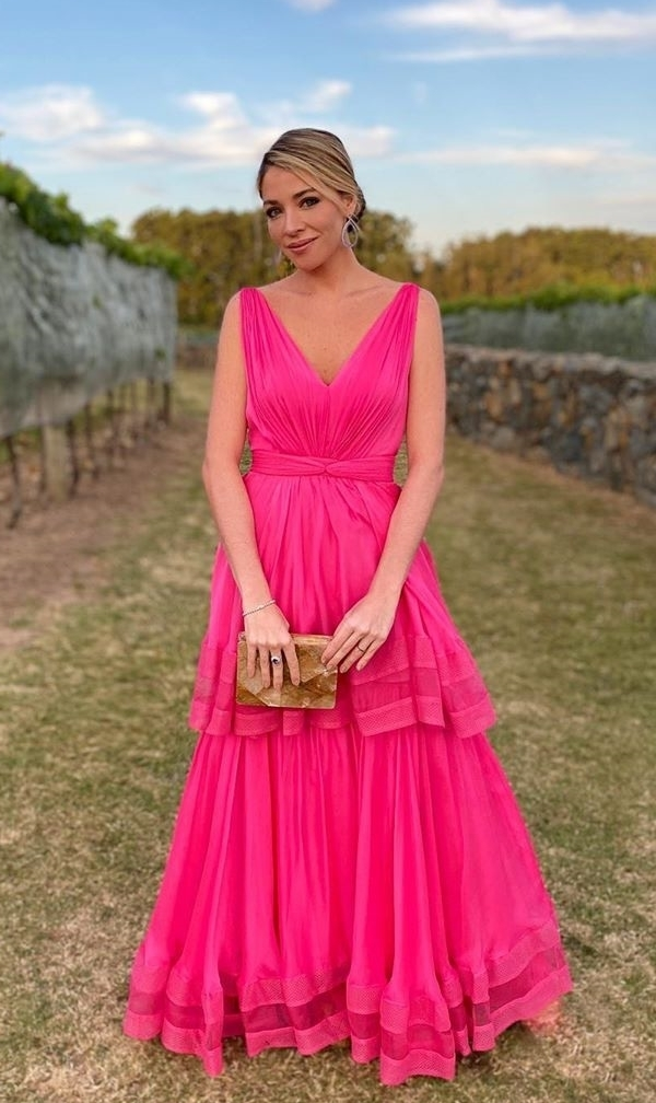 Pink Prom Dress,A-Line Prom Gown,Chiffon Evening Dress,V-Neck Prom Gown 0221