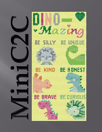 MiniC2C Be Dino-Mazing CAL Bundle.  6 Total blocks + Banner, MiniC2C Twin Size,