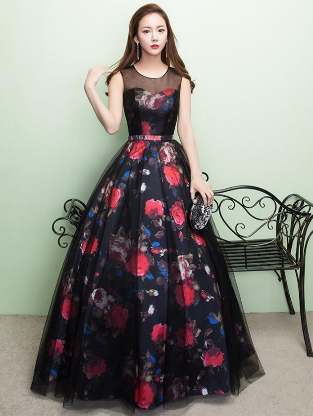 Black Long Round Neckline Party Dress, A-line Floor Length Prom Dress