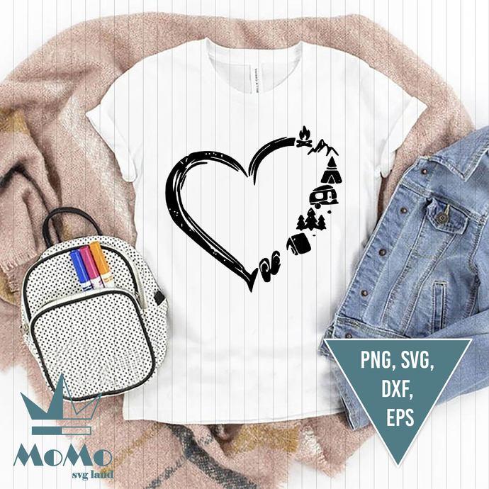 Heart Camping Svg, Happy Camper Heartbeat Svg, Camping Svg, Camper Svg, Digital