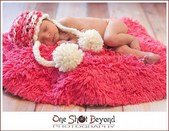 Newborn Woolly Chain Link Pattern Snow Hat - Peppermint Stick
