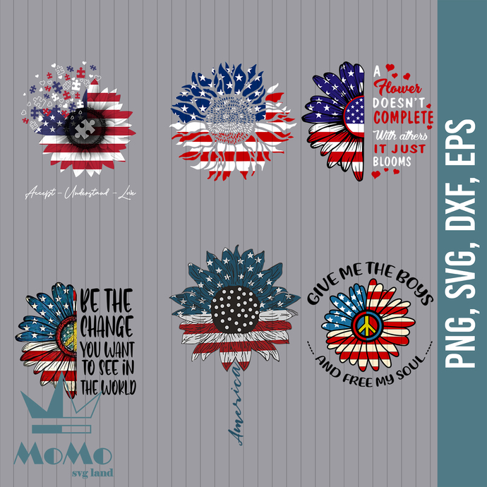 Sunflower Svg, Quotes Svg, American Flag, 4th Of July, Independence Day, Bundle