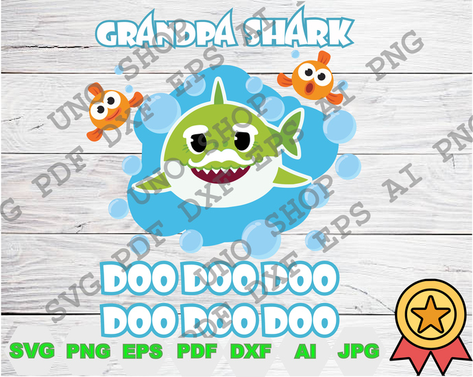 Grandpa Shark family svg,Baby shark and crab family instant download,Baby shark