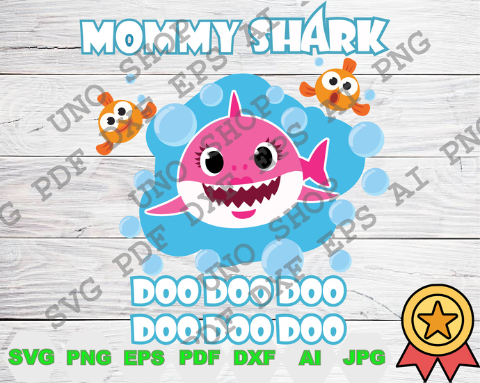 Mommy Shark DooDooDo  svg,Baby shark and crab family instant download,Baby shark