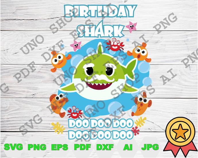 Grandpa Birthday Shark Doo Doo Doo svg,Baby shark instant download,Baby shark