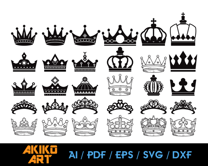 Crown vector | King Crown dxf | eps | png | cricut cut file | separated svg