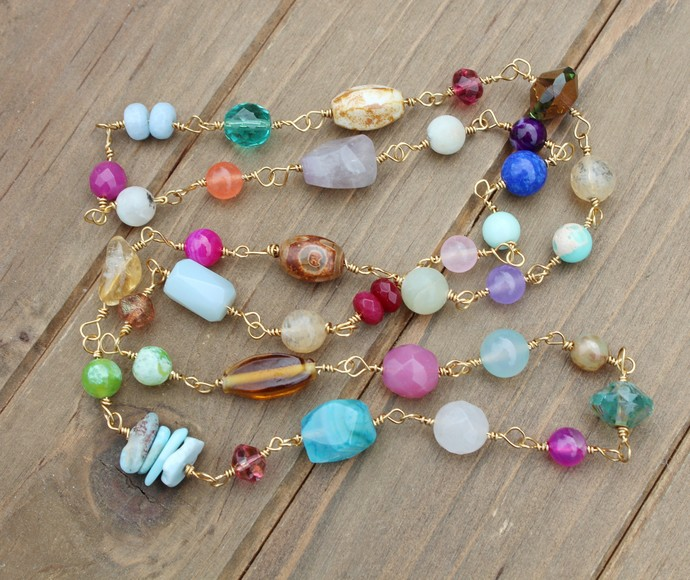 Colorful Natural Stone Linked Necklace by Knottedup