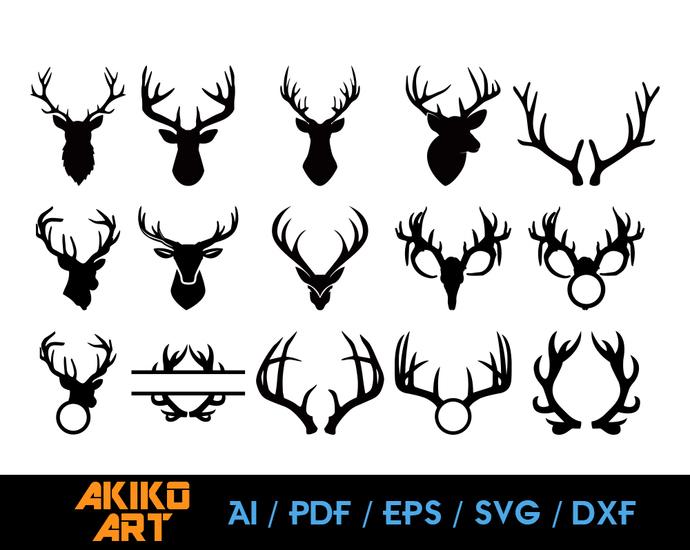 Deer vector | Antlers dxf | eps | png | cricut cut file | separated svg