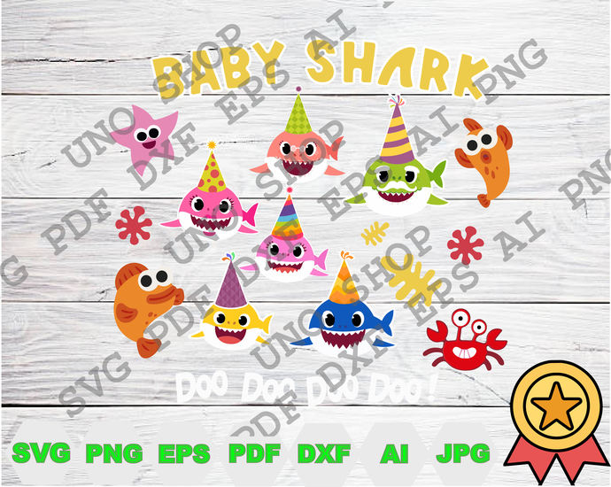 Birthday Baby Shark Doo Doo Doo svg,Baby shark instant download,Baby shark