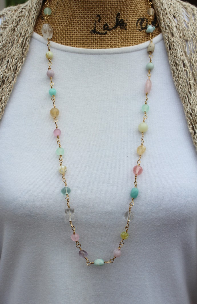 Colorful Pastel Natural Stone Linked Necklace by KnottedUp