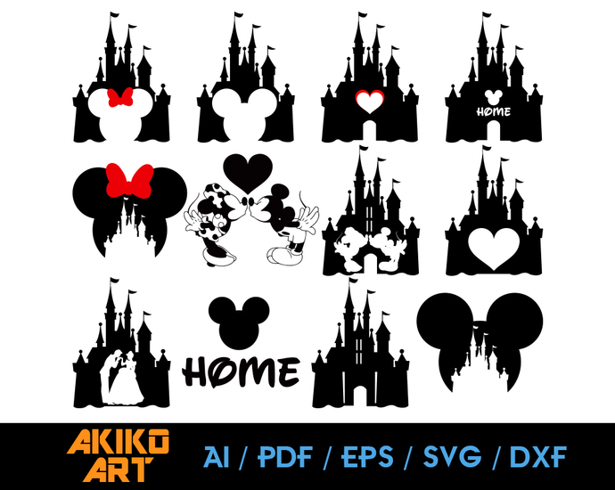 Disney vector | Disney Castle dxf | eps | png | cricut cut file | separated svg