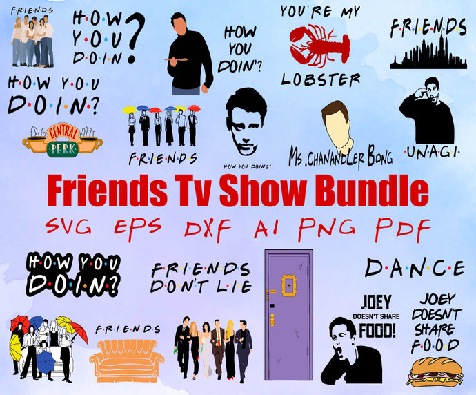 Bundle 68 in 1  Friends SVG Bundle Includes Friends TV Show Svg Font