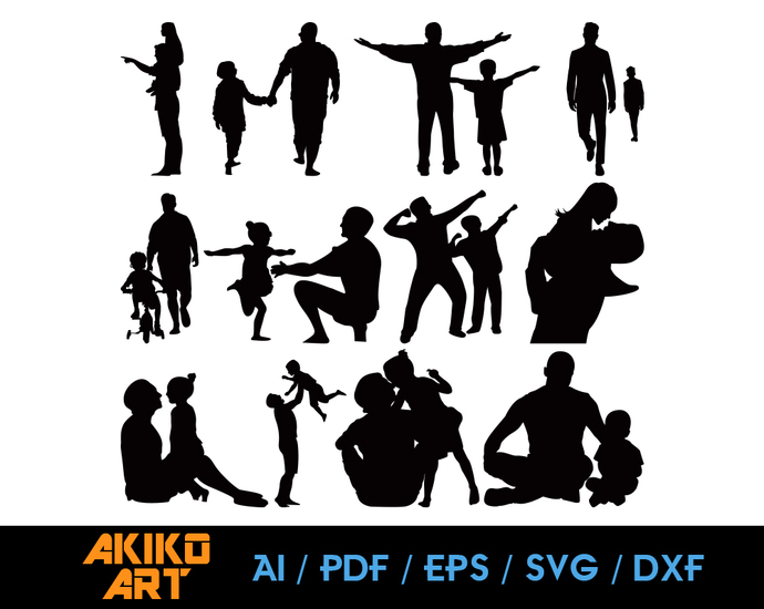 Father vector | Father son dxf | Family eps | png | cricut cut file | separated