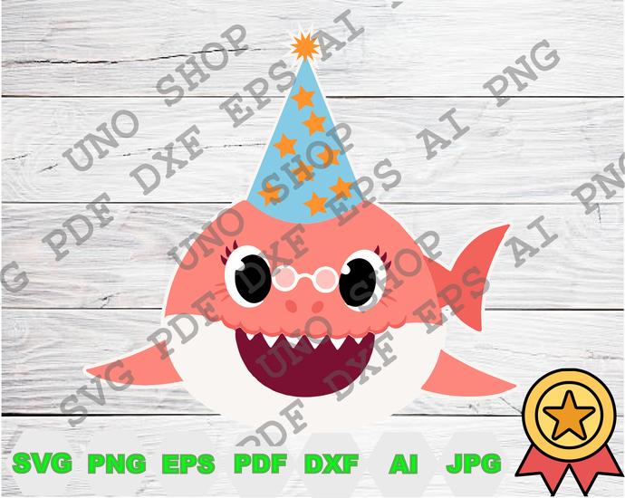 Grandma Shark Hat Birthday svg,Baby shark Family instant download,Baby shark