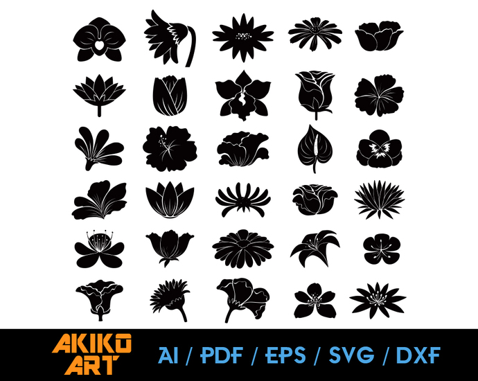 Flower vector | dxf | eps | png | cricut cut file | separated svg