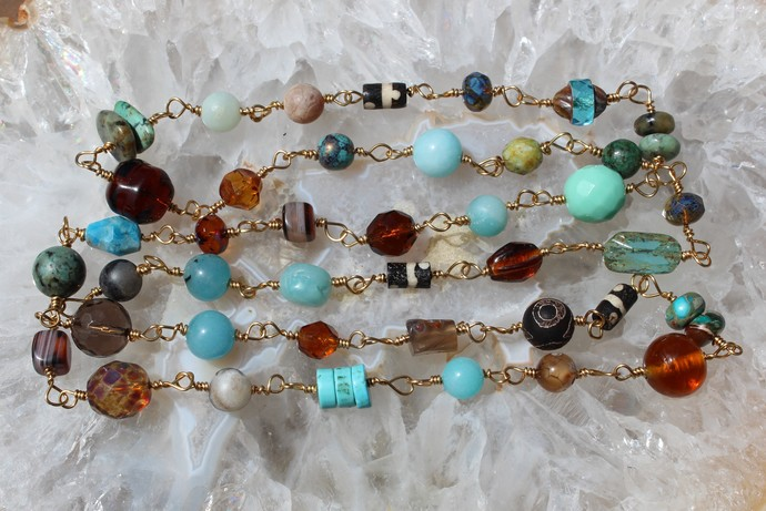 Turquoise & Brown Natural Stone Linked Necklace by KnottedUp