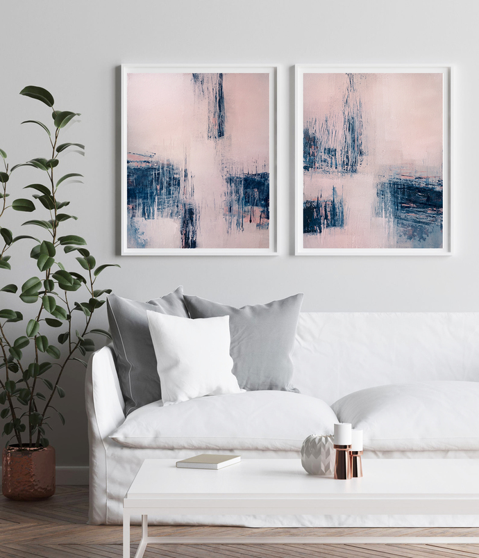 Printable Art, Set of 2 Pink Navy Art Poster, Wall Decor, navy blue and white,