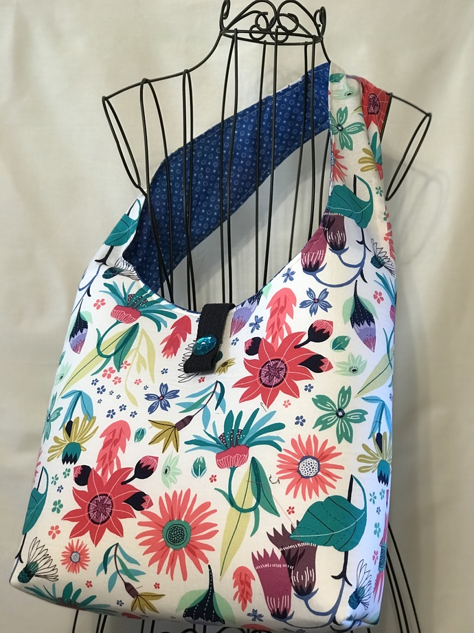HOBO BAG, CROSS-BODY BAG, Handmade, 100% Cotton, Lining, New with Tags